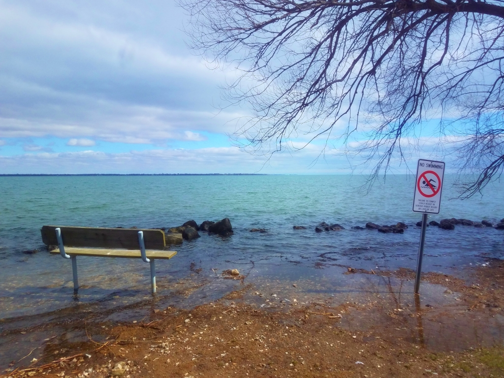 a picture of the shoreline by the Detroit River. The water levels are high and are flooding the sitting area.