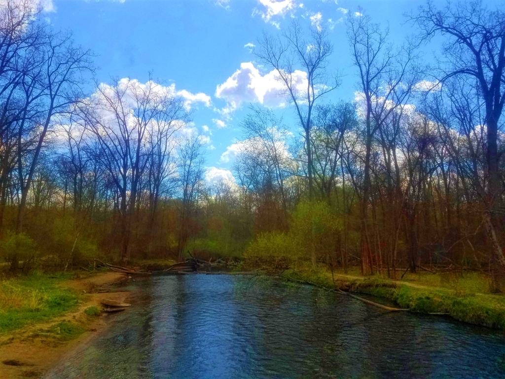 A vibrate photo of the Clinton River. The sky is blue the clouds are white, the trees are bright green.