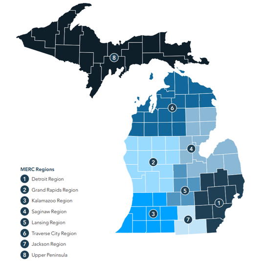 The MERC regions map which divides the State of Michigan into 8 regions. The Regions are as follows: 1. Detroit Region, 2. Grand Rapids Region, 3 Kalamazoo Region, 4. The Saginaw Region, 5. Lansing Region, 6. Traverse City Region, 7. Jackson Region, 8 The entire Upper Peninsula.