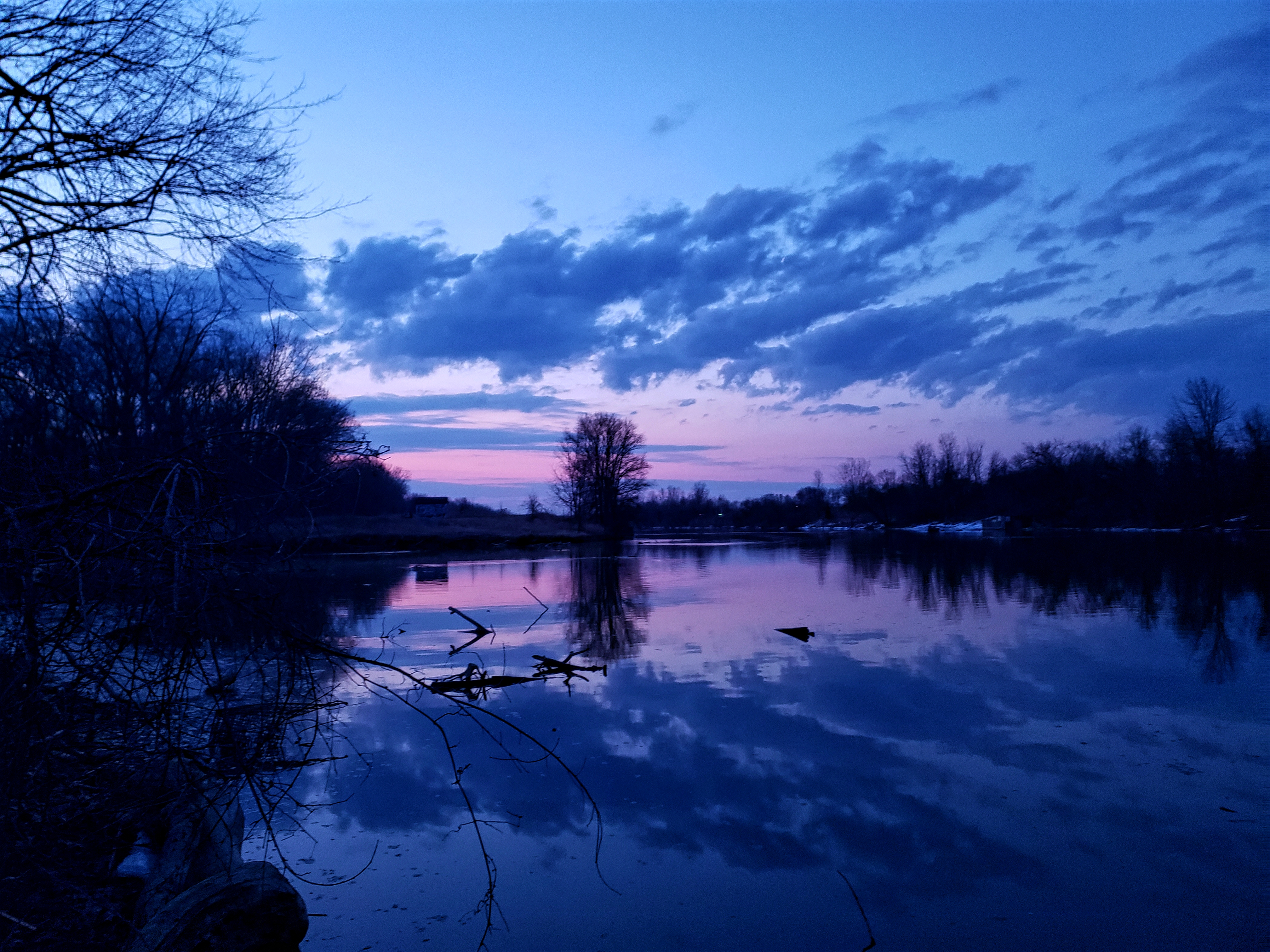 The Clinton river at twilight.