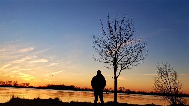 A man stands on a bank of a river as the sun raises in the east. To his right there is a bare tree while off into the distance are some people on a boat most likely fishing.