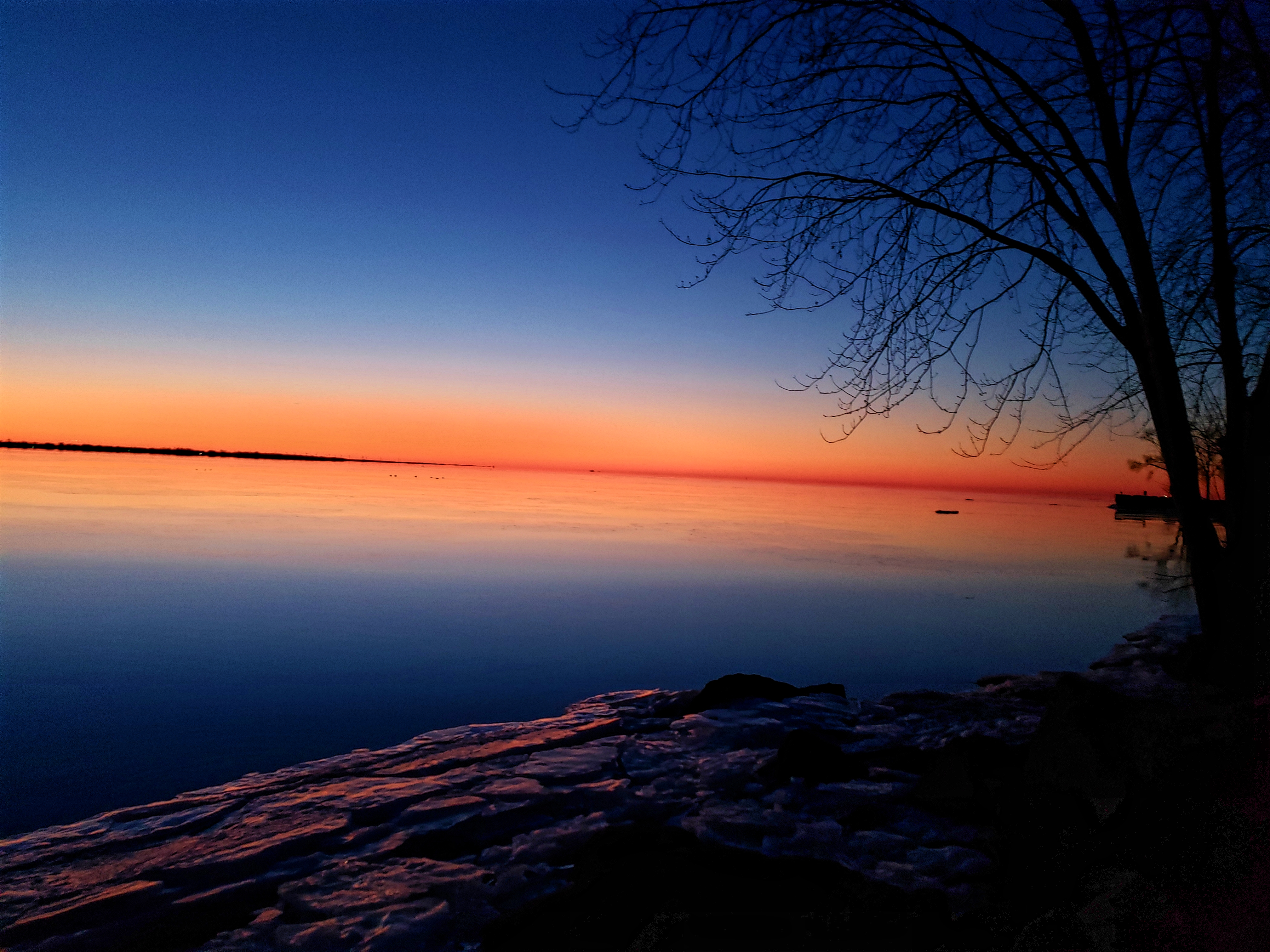 In the shadows of  the twilight sky are an icy shore, on the right in the photo is a silhouette of a tree