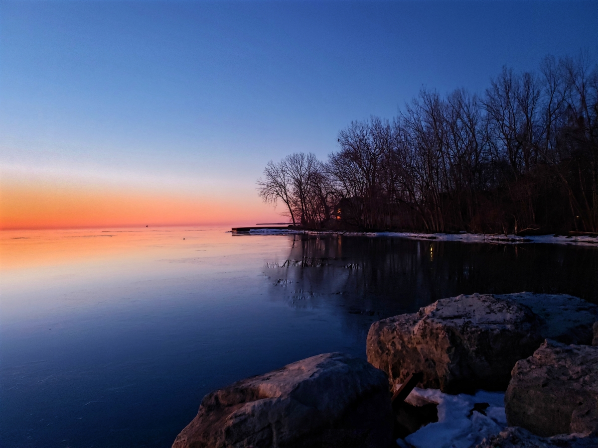 A wintry sunrise on Lake Erie.