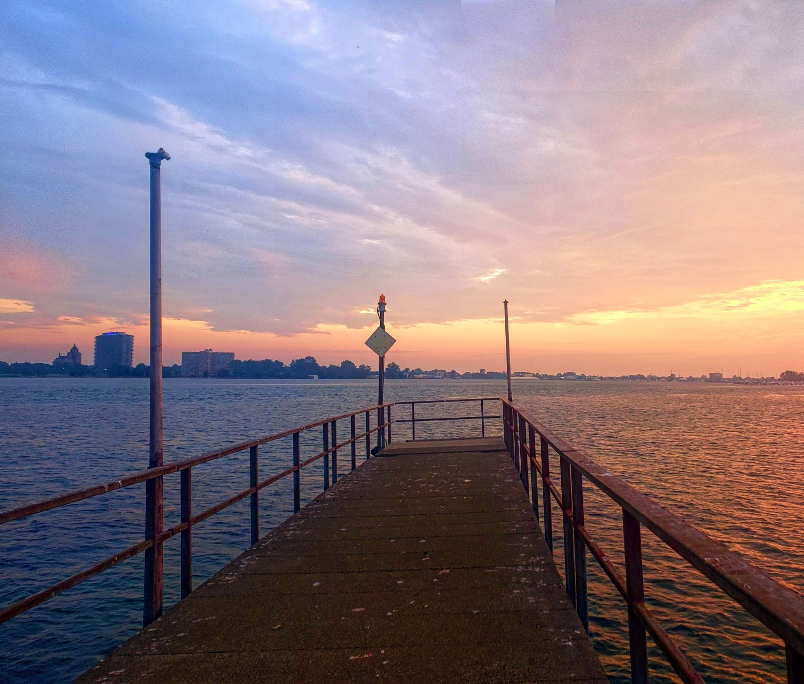 Sunrise on the North Fisherman Pier at Belle Isle State Park in Detroit Michigan