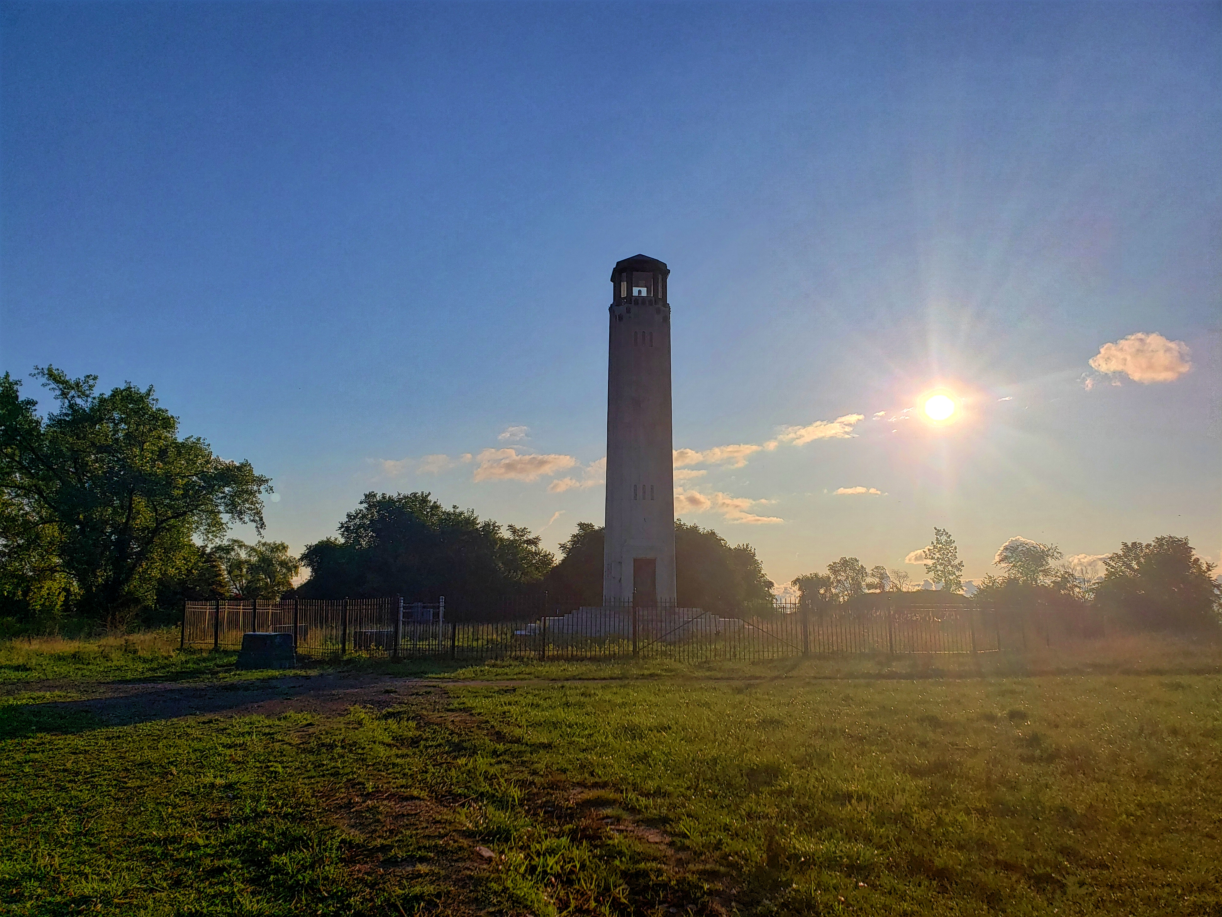 The Livingstone Memorial Light House is a land mark along the Blue Heron Lagoon Hiking trail on Belle Isle Michigan